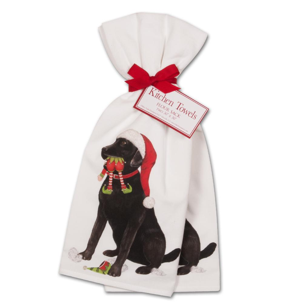 Black Lab Elf Kitchen Towels - Set of 2