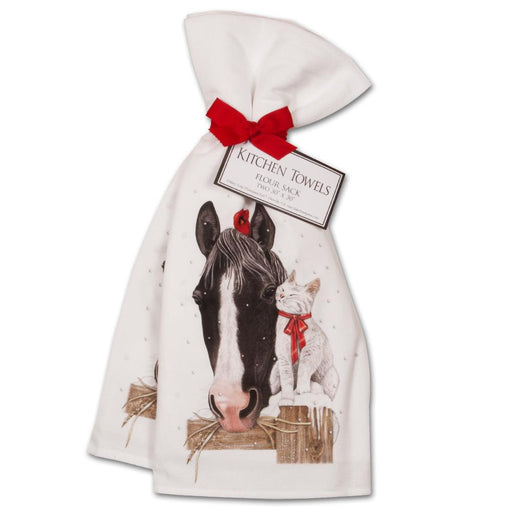 Christmas Horse & Kitty Kitchen Towels - Set of 2