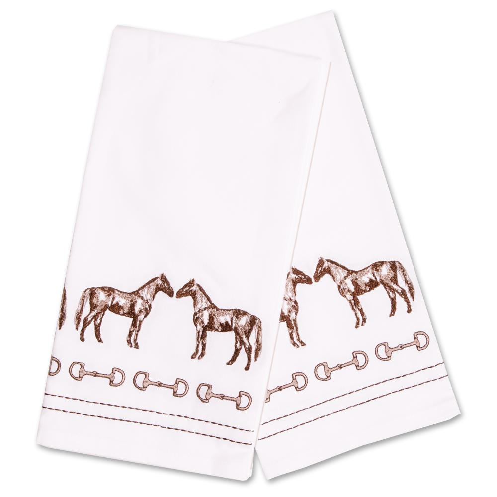 Horse & Snaffle Embroidered Hand Towels - Set of 2