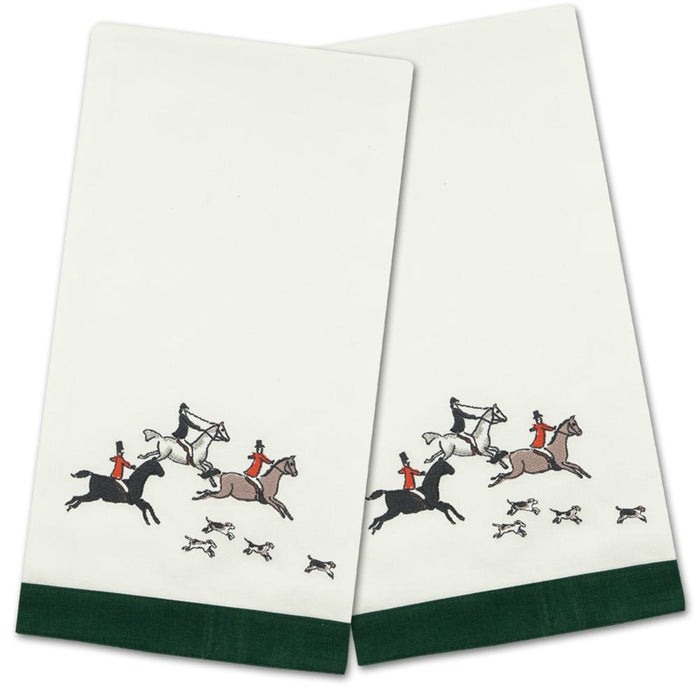 Foxhunt Embroidered Hand Towels - Set of 2