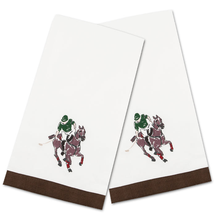 Polo Player Embroidered Hand Towels - Set of 2