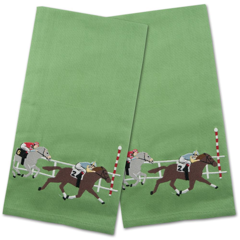 Finish Line Horse Racing Embroidered Hand Towels - Set of 2