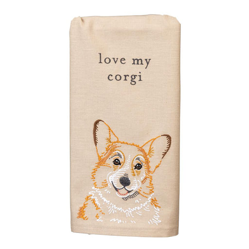 Love My Corgi Embroidered Kitchen Towel
