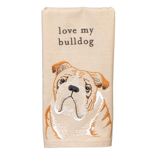Love My Bulldog Embroidered Kitchen Towel
