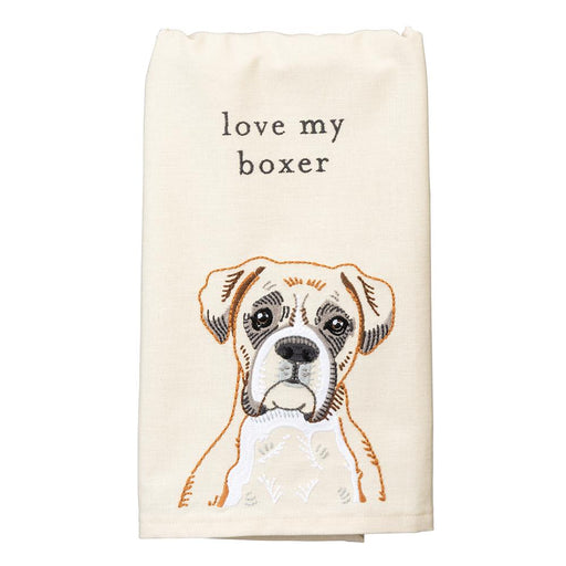 Love My Boxer Embroidered Kitchen Towel