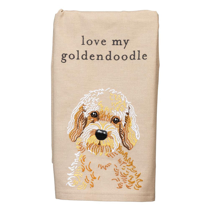 Love My Goldendoodle Embroidered Kitchen Towel