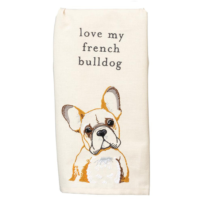 Love My French Bulldog Embroidered Kitchen Towel