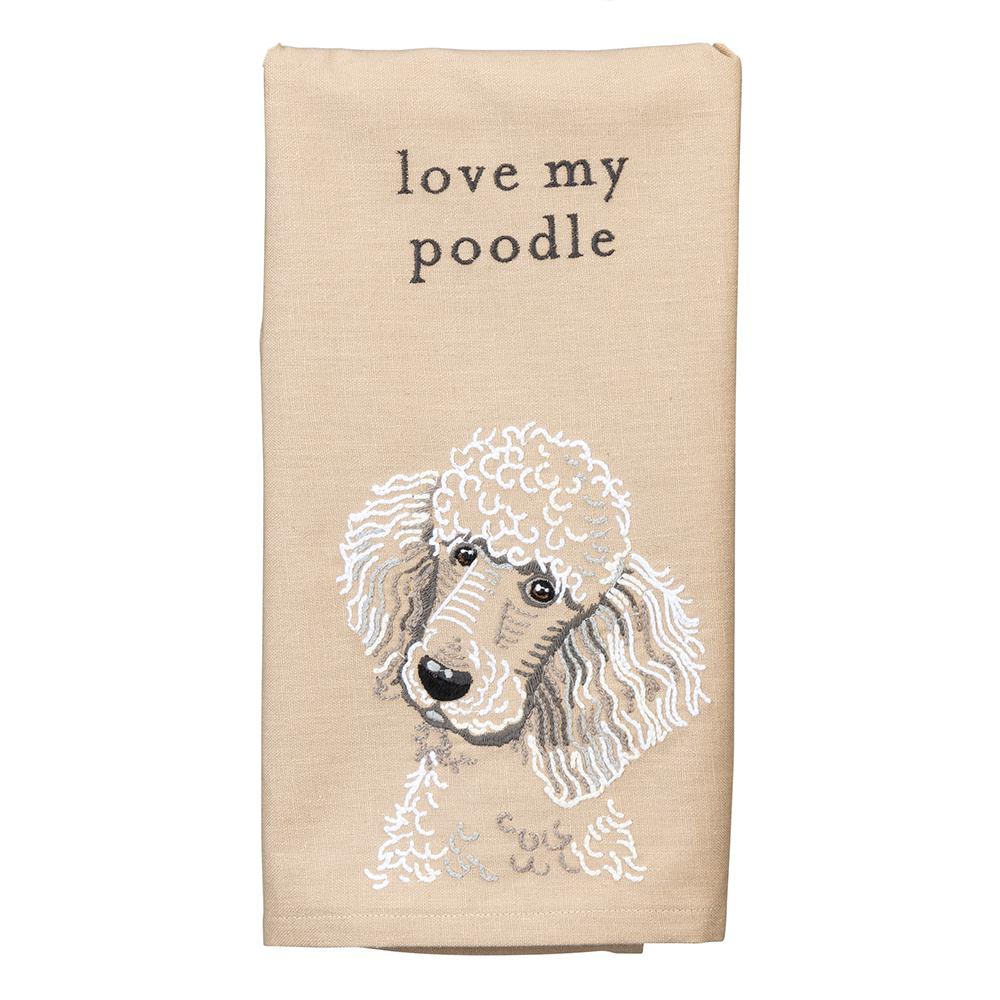 Love My Poodle Embroidered Kitchen Towel