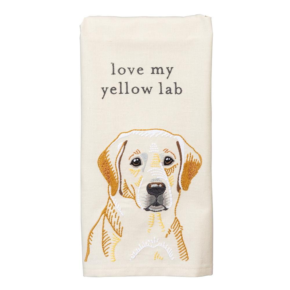 Love My Yellow Lab Embroidered Kitchen Towel