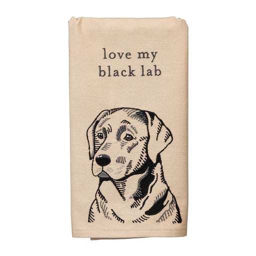 Love My Black Lab Embroidered Kitchen Towel