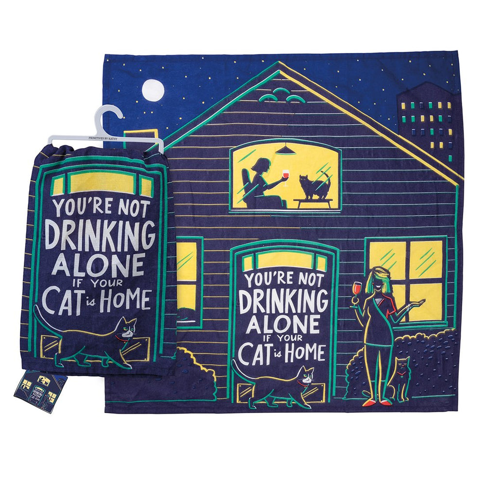 Cat Is Home Funny Kitchen Towel