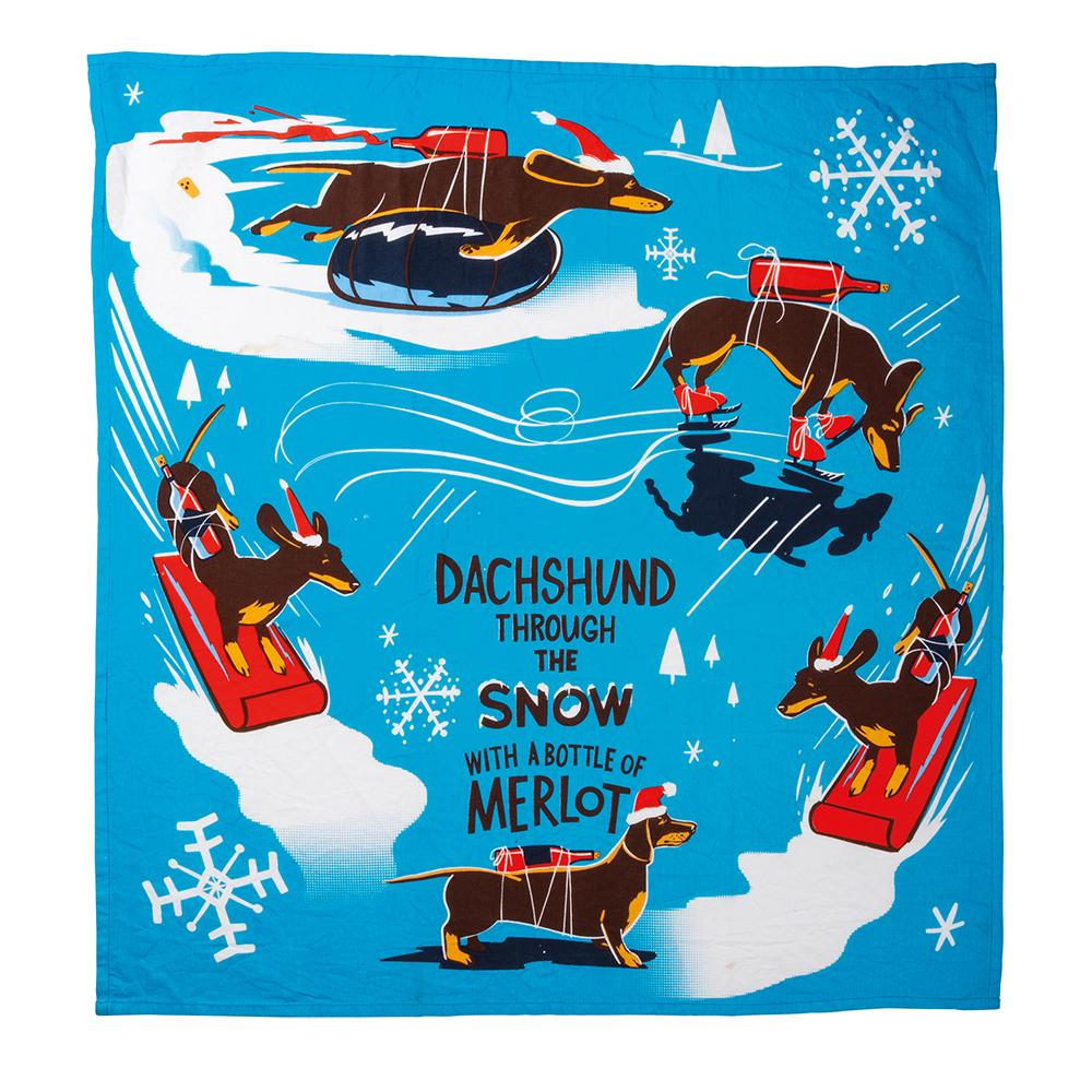 Dachshund Winter Fun Kitchen Towel