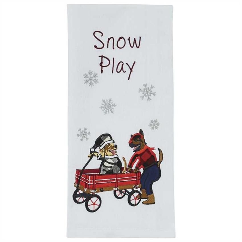 Snow Play Dog Themed Towel