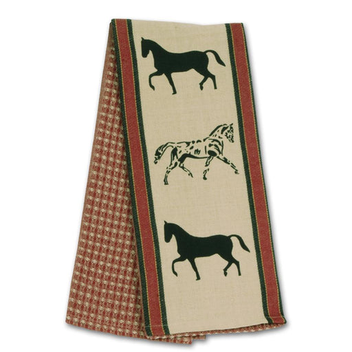 Show Horses Red Waffle Weave Kitchen Towel