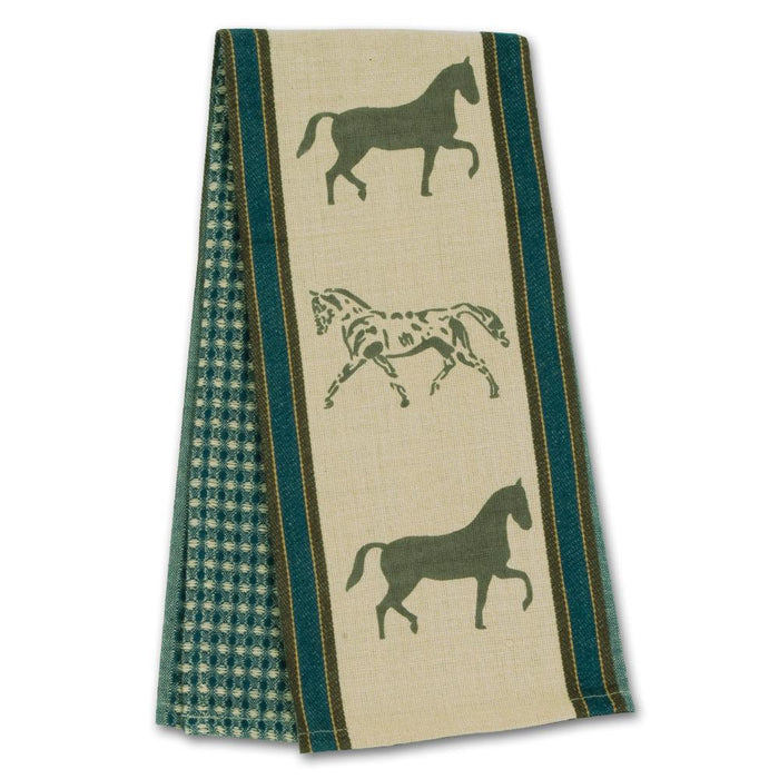 Show Horses Blue Waffle Weave Kitchen Towel