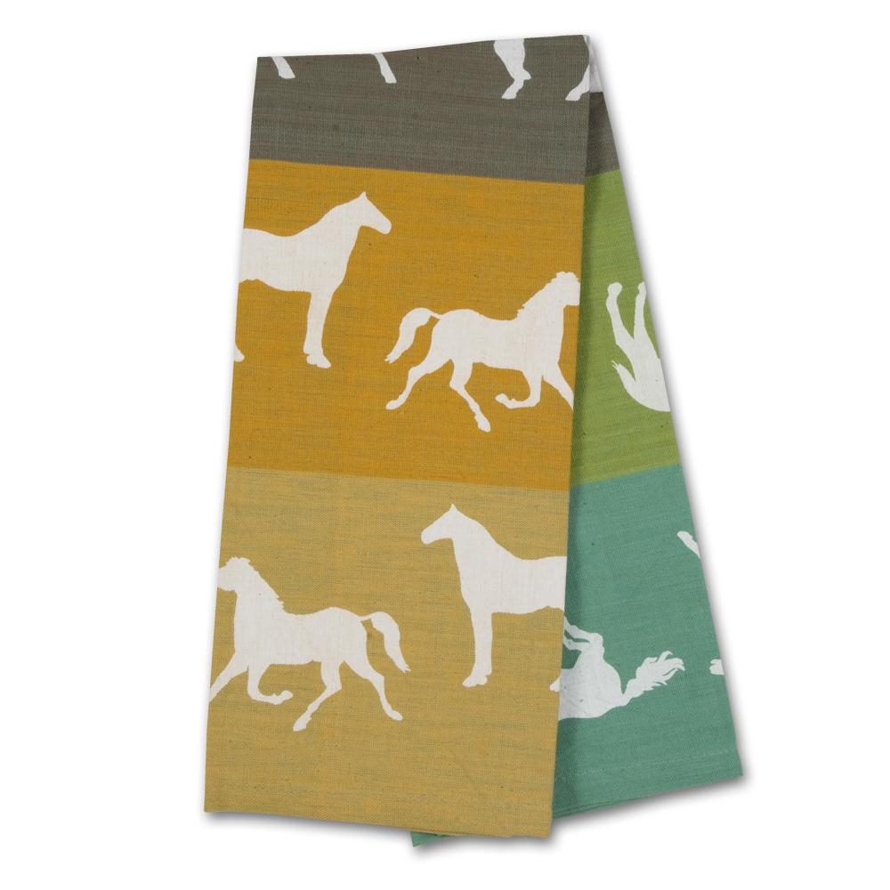 Equus Collage Green-Tan Horse Kitchen Towel