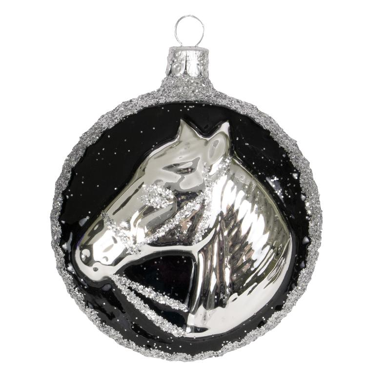Silver Horse Medallion Glass Ornament