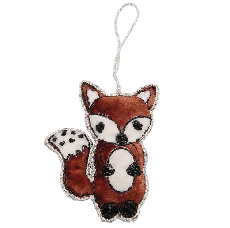 Red Fox Fabric Christmas Ornament