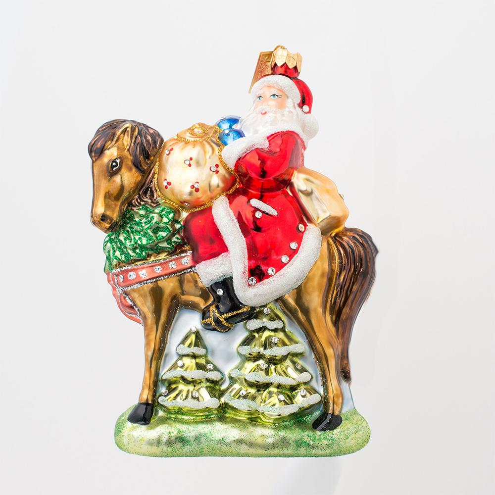 Santa on Chestnut Horse Glass Ornament