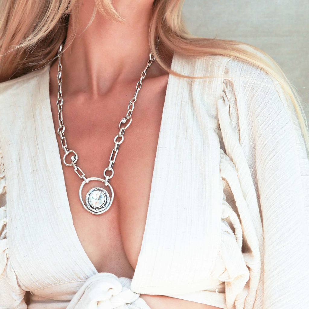 Nadia Medallion Necklace- Crystal Clear