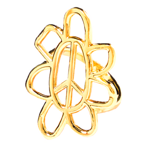 peaceflower ring - gold plated