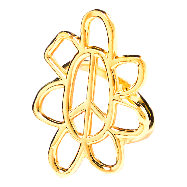 peaceflower ring - solid gold