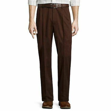 Men Easy-Care Pleat-Front Pants Frontier Brown - Onetimedealbargain