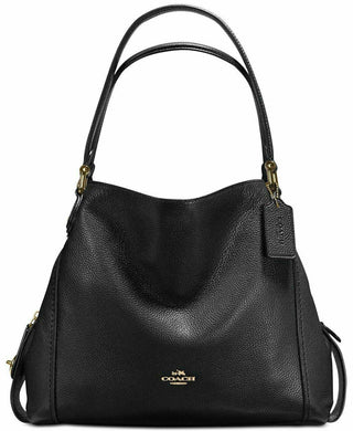 COACH Edie Shoulder Bag 31 in Polished Pebble Leather Black /Gold - Onetimedealbargain