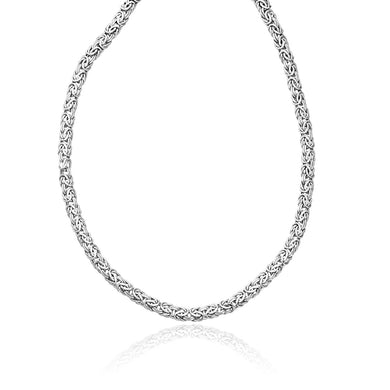 14k White Gold Byzantine Motif Chain Necklace