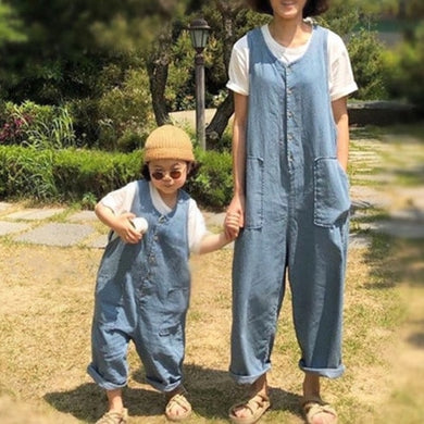 2019 Summer dress Korean family style loose style style style thin cowboy leisure jumpsuits mother daughter matching clothes