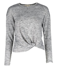 Load image into Gallery viewer, Urban Diction Light Gray Front-Tie Hacci Long-Sleeve Top