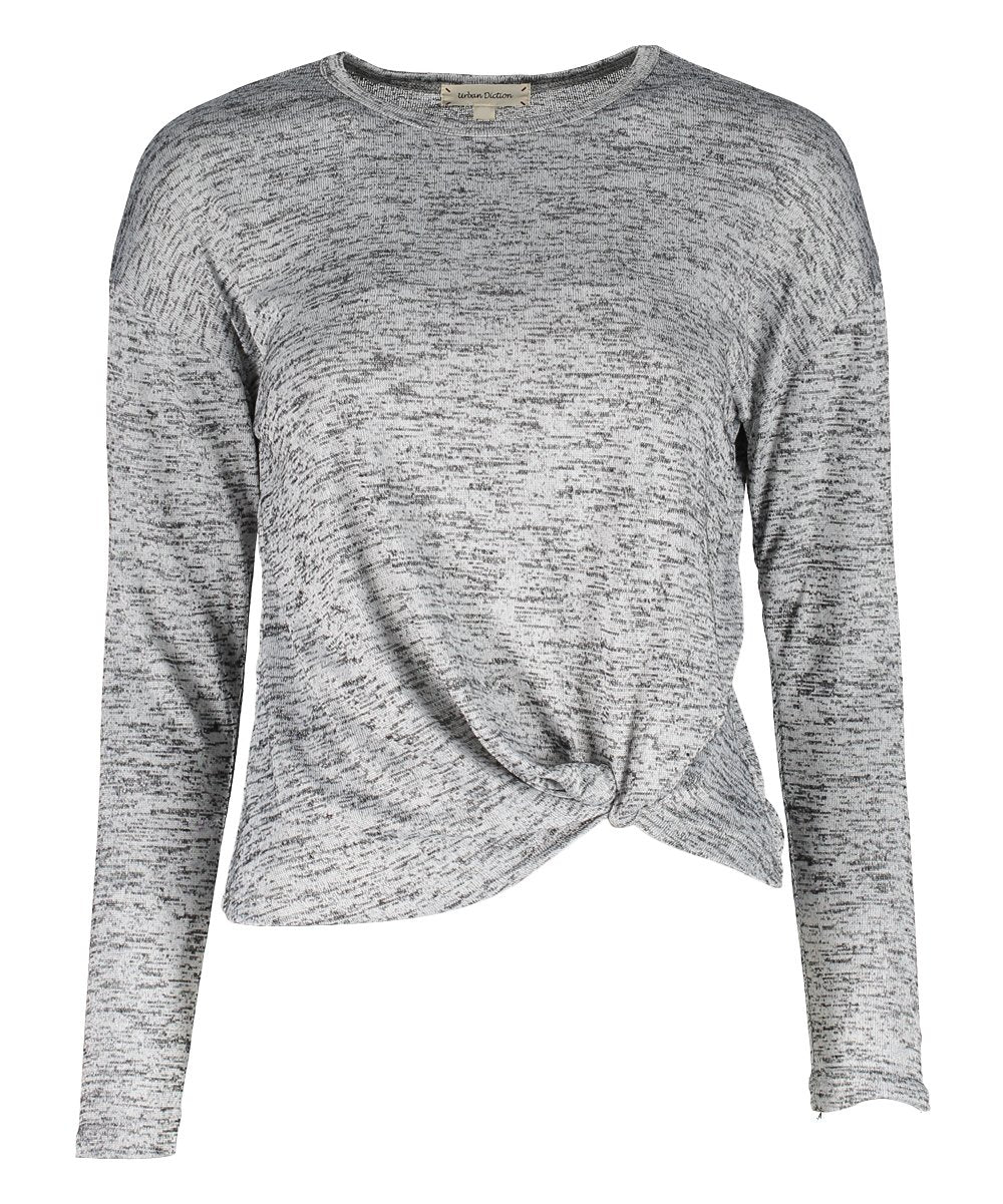 Urban Diction Light Gray Front-Tie Hacci Long-Sleeve Top