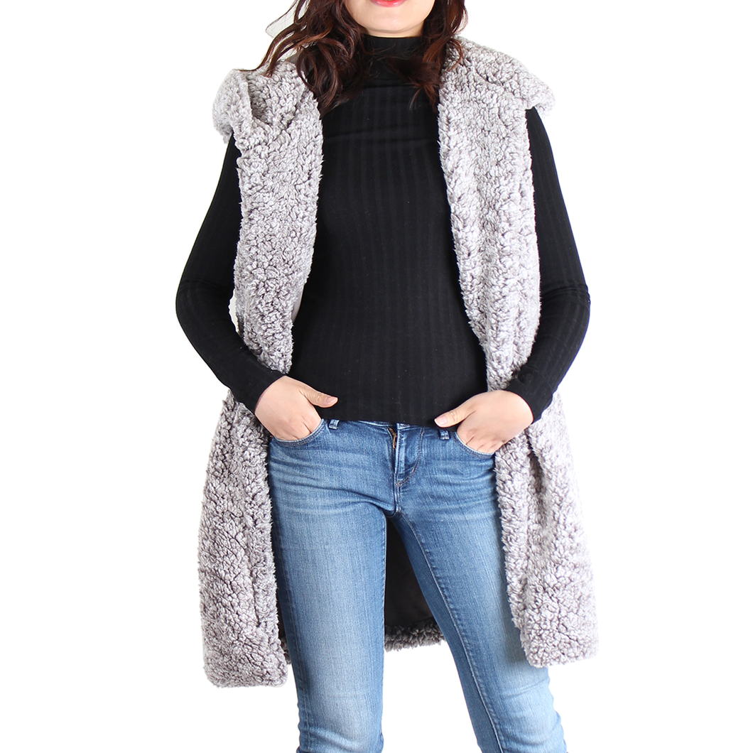 Charcoal Sherpa Open Front Hooded Sleeveless Vest