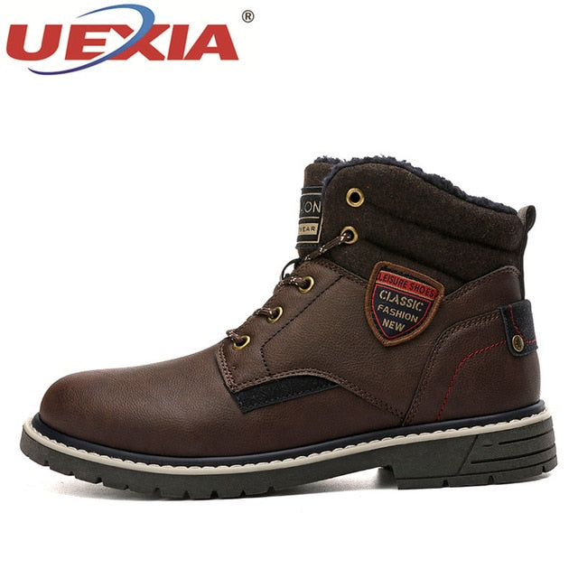 UEXIA 2019 New Men Warm Winter Plush Fur Snow Boots Lace-Up Motorcycle Boots Handmade Casual Shoes botas Bota Mens Shoes chelsea
