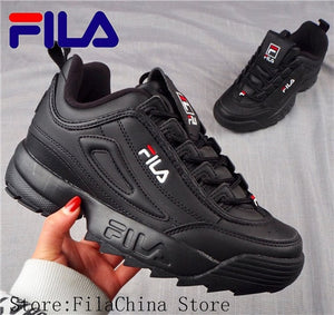 2019 Fila Disruptor II 2 Women Sneaker Running Shoes White-brown and white summer Increased Outdoor Sneaker