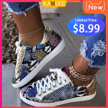 Load image into Gallery viewer, Women Snake Printing PU Leather Vulcanized Shoes Lace up Female Sneakers Fashion 2019 New Platform Woman Shoes Walking Footwear