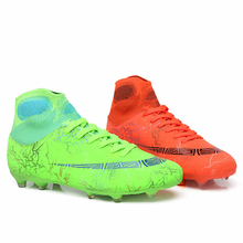 Load image into Gallery viewer, Hot Sale Mens Soccer Cleats High Ankle Football Shoes Long Spikes Outdoor Training Boots Men Women Soccer Shoes Chuteira Futebol