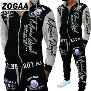 ZOGAA Men Track Suit Hooded Jacket Sweatsuit Mens Sports Suits brand New Sportwear Men Jogger Set Printed Tracksuit Men Clothes