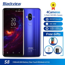 "Load image into Gallery viewer, Blackview S8 5.7"" 18:9 HD Screen 4 Cameras MT6750T Octa Core Smartphone 4GB+64GB Dual SIM Fingerprint OTG 4G LTE Mobile Phone"