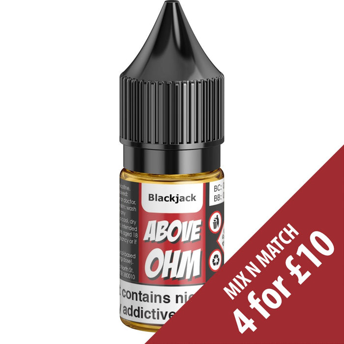 Above Ohm: Blackjack 10ml TPD E-liquid-Mouth to Lung-Above Ohm-Stop n Vape