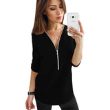 Beautiful Short Sleeve Top with Zipper V – Neck