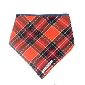 Tartan Dog Bandana Orange Red