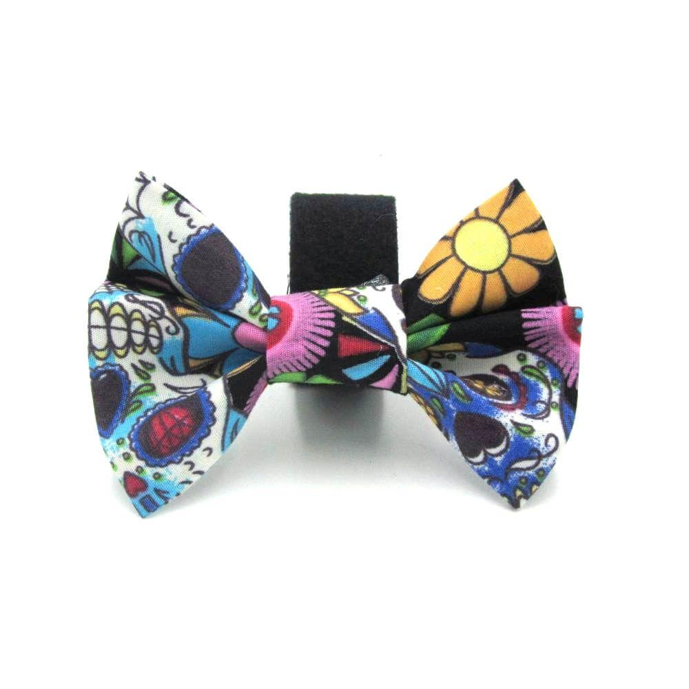 Mexican Skulls Halloween Dog Bow Tie