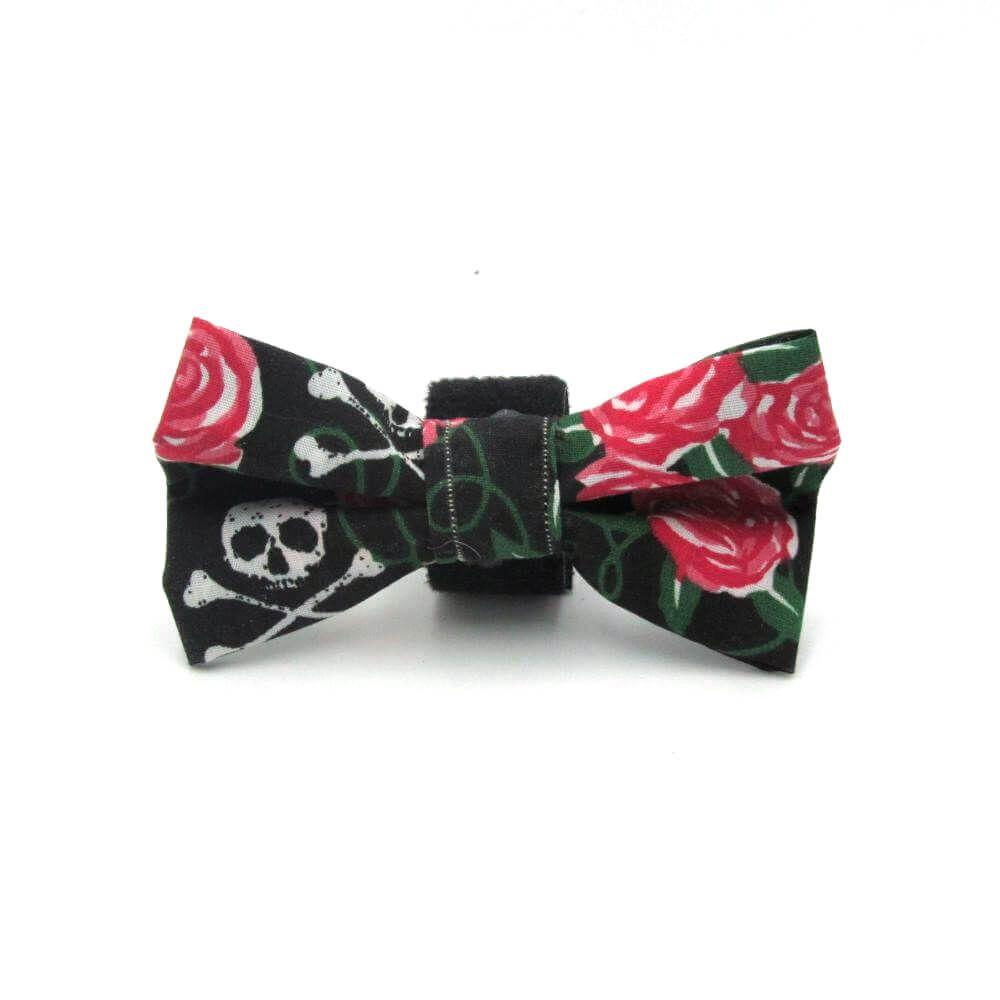 Skulls and Roses Halloween Dog Bow Tie