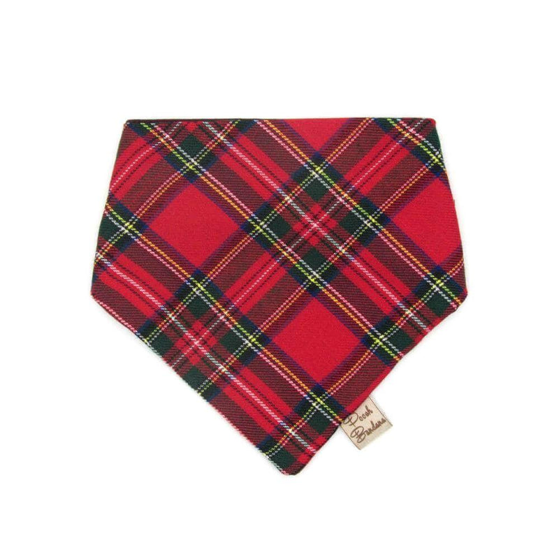 Cockapoo wearing Tartan Dog Bandana Red