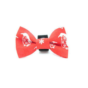 Red Penguin Christmas Dog Bow Tie
