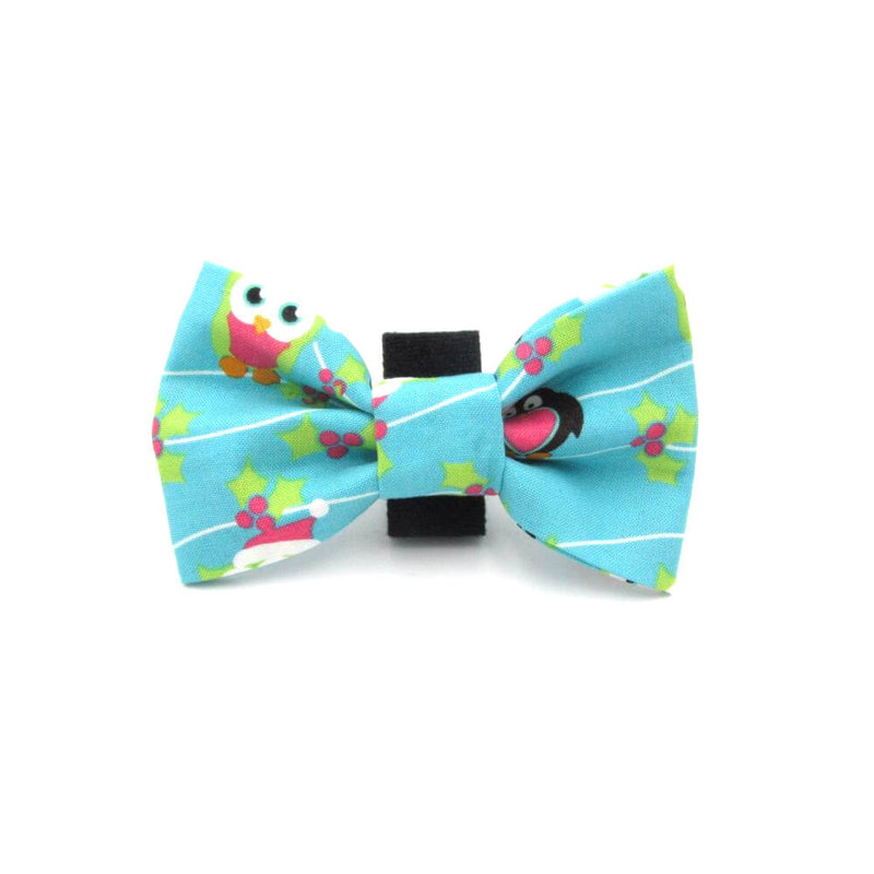 Icy Penguin Christmas Dog Bow Tie Blue
