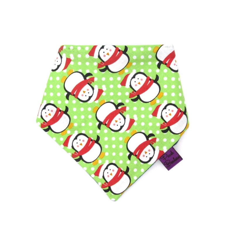 Penguin Christmas Dog Bandana Green