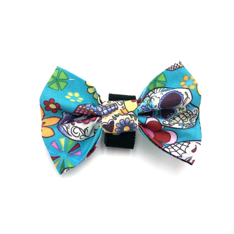 Mexican Skulls Halloween Dog Bow Tie Light Blue