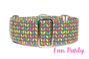 "Colorful Martingale Dog Collar, 1.5"" Wide Ready to Ship, Size Large 13-17"""